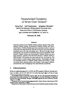 Parameterized Complexity of Vertex Cover Variants - Algorithmics and ...