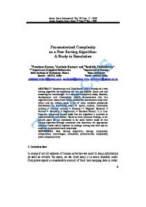 Parameterized Complexity on a New Sorting Algorithm: A Study ... - arXiv