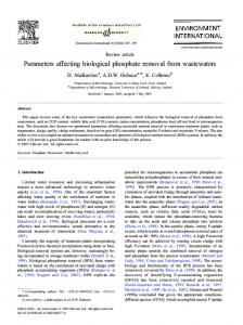 Parameters affecting biological phosphate removal from wastewaters