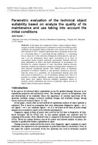 Parametric evaluation of the technical object suitability based on
