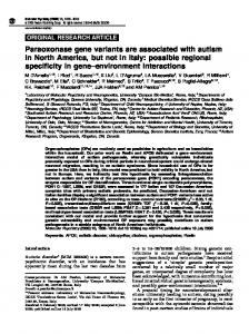 Paraoxonase gene variants are associated with autism in North ...