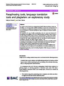 Paraphrasing tools, language translation tools and