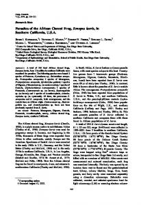 Parasites of the African Clawed Frog, Xenopus laevis, in ... - BioOne