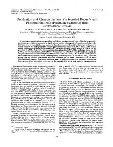 (Parathion Hydrolase) from Streptomyces lividans - Applied and ...