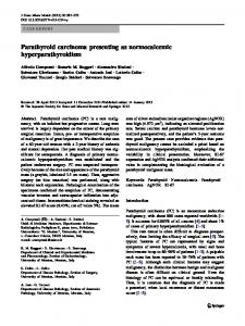 Parathyroid carcinoma presenting as normocalcemic ... - Springer Link