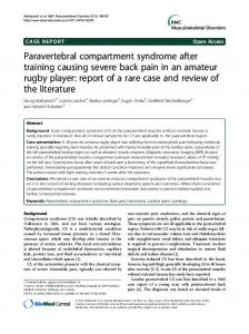 Paravertebral compartment syndrome after training