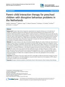 Parent-child interaction therapy for preschool children with disruptive ...
