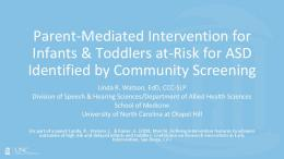 Parent-Mediated Intervention for Infants & Toddlers at