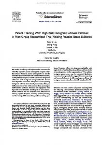 Parent Training With High-Risk Immigrant Chinese Families: A Pilot ...