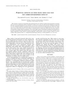 parental effects on seed mass: seed coat but not ... - Semantic Scholar