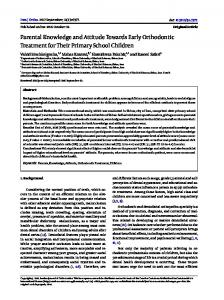 Parental Knowledge and Attitude Towards Early Orthodontic