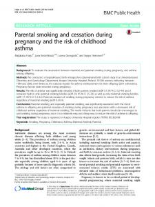 Parental smoking and cessation during pregnancy and the risk of ...