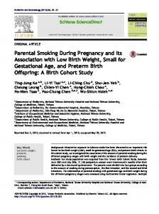 Parental Smoking During Pregnancy and Its Association with Low ...