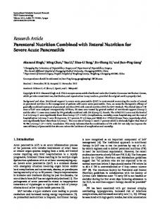 Parenteral Nutrition Combined with Enteral Nutrition for Severe Acute ...
