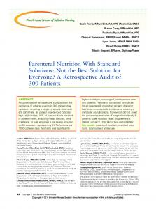 Parenteral Nutrition With Standard Solutions