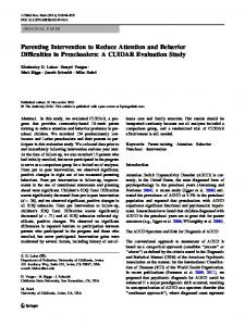 Parenting Intervention to Reduce Attention and ... - Springer Link