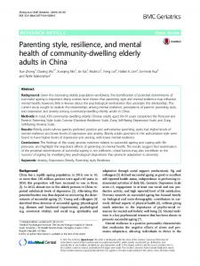 Parenting style, resilience, and mental health of community ... - Core