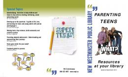 Parenting Teens - the New Westminster Public Library
