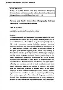 Parents and Early Immersion: Reciprocity Between ...