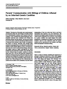 Parents' Communication with Siblings of Children ... - Springer Link