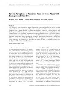 Parents' Perceptions of Postschool Years for Young Adults With ...