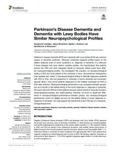 Parkinson's Disease Dementia and Dementia with