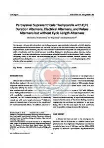 Paroxysmal Supraventricular Tachycardia with QRS Duration ... - TSOC