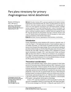 Pars plana vitrectomy for primary rhegmatogenous ... - Semantic Scholar