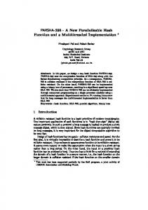PARSHA-256 - A New Parallelizable Hash Function and a ...