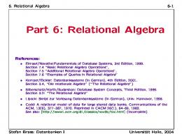 Part 6: Relational Algebra