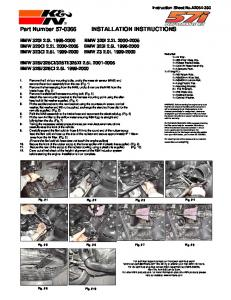 Part Number 57-0366 INSTALLATION INSTRUCTIONS