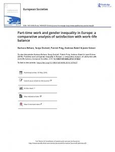 Part-time work and gender inequality in Europe: a ...