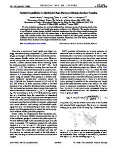 Partial Crystallinity in Alkyl Side Chain Polymers ... - APS Link Manager