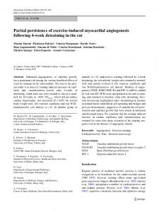 Partial persistence of exercise-induced myocardial angiogenesis ...