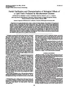 Partial Purification and Characterization of Biological Effects of a Lipid ...