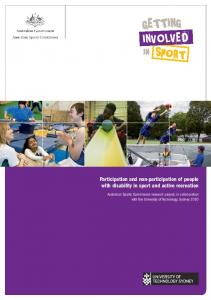Participation and non-participation of people ... - Clearinghouse for Sport