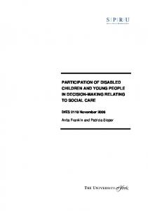 participation of disabled children and young people - Social Welfare ...