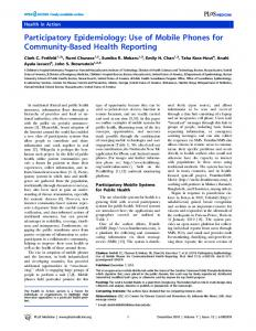 Participatory Epidemiology: Use of Mobile Phones for ... - PLOS