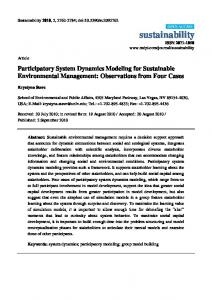 Participatory System Dynamics Modeling for Sustainable ... - MDPI