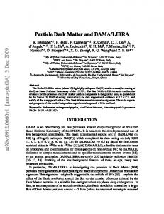 Particle Dark Matter and DAMA/LIBRA