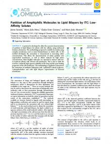Partition of Amphiphilic Molecules to Lipid Bilayers ... - ACS Publications