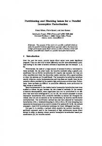 Partitioning and Blocking Issues for a Parallel ... - Semantic Scholar