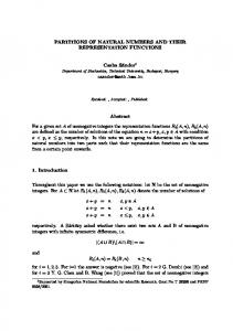 PARTITIONS OF NATURAL NUMBERS AND THEIR ... - BME