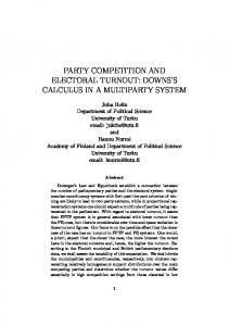 party competition and electoral turnout: downs's calculus in a