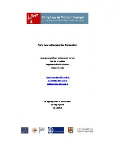 Party Law in Comparative Perspective - Party Law in Modern Europe