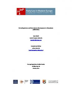Party Regulation and Party System Development in Macedonia (1990 ...
