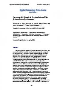 Parvovirus B19 Viremia In Egyptian Patients With Systemic Lupus ...