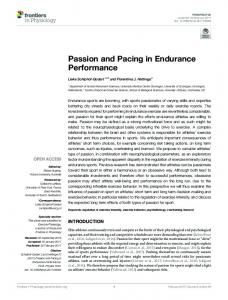 Passion and Pacing in Endurance Performance
