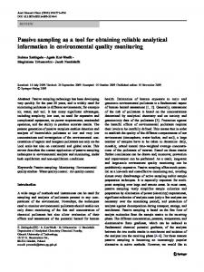 Passive sampling as a tool for obtaining reliable ... - Springer Link