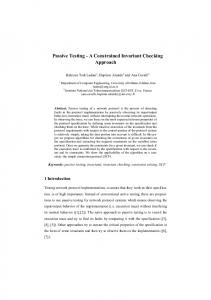 Passive Testing - A Constrained Invariant Checking Approach - SaToSS